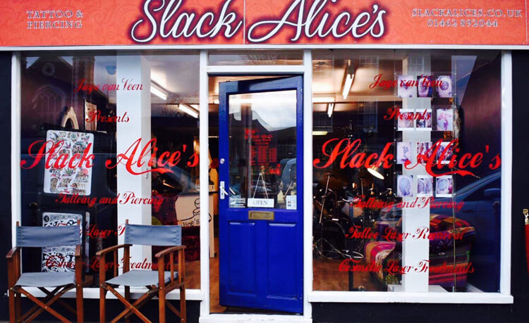Get in Touch Slack Alices Tattoo Shack 01462 892044